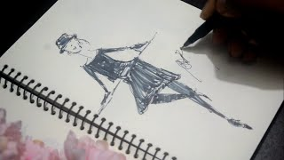 Black line abstract Young woman model drawing || Hand Drawn Fashion design || Fashion Design Sketch.