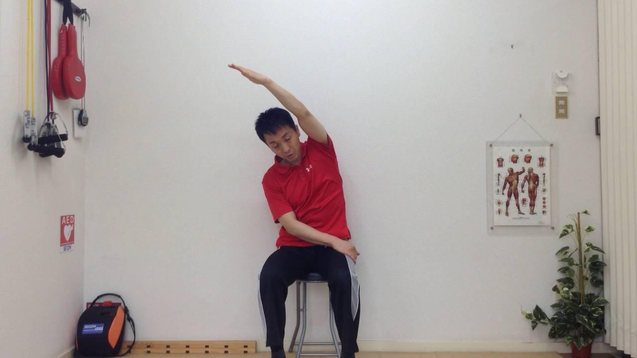 姿勢矯正,貓背解消,腰痛予防のための座りストレッチ體操法 - YouTube