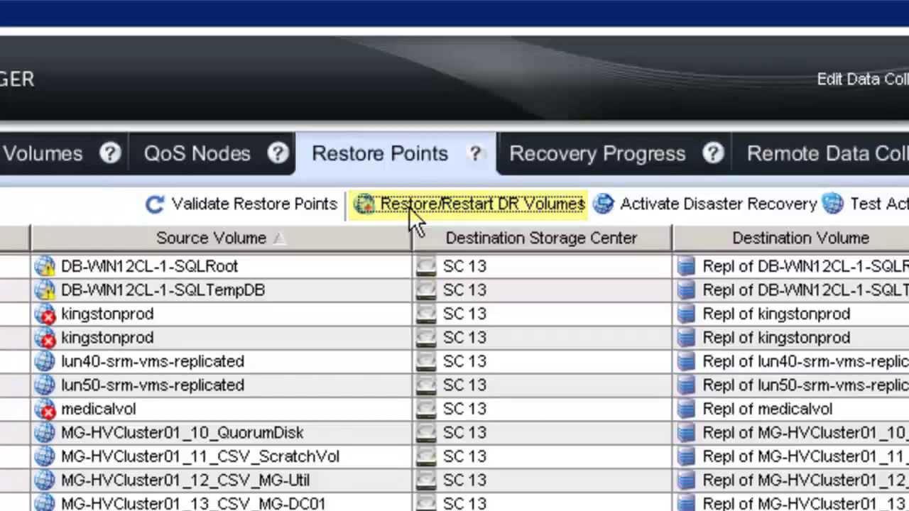 Dell Compellent Storage Center Enterprise Manager DR Plan for Hyper-V Demo  Video