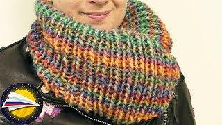 вяжем шарф снуд спицами  Очень простой способ связать снуд резинкой  Осенние вещи своими руками
