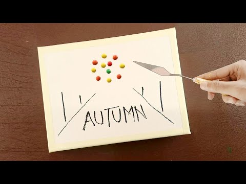 Daily Challenge #02/ Autumn Tree/ Landscape Painting / Acrylic Painting on Canvas / Satisfying ASMR