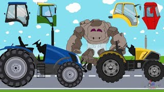 Baby Stone and Tractor | Farm Vehicles - construction and assembly | What Cabin? | Cartoon for kids