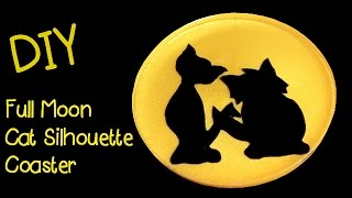 DIY Full Moon Cat Silhouette   Another Coaster Friday Craft Klatch