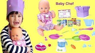 nenuco baby chef little girl and baby doll cooking time eat healthy kids song