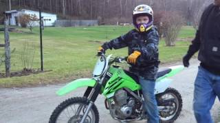 Daniels first ride on the KLX 140.