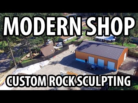 Modern Rock Carving/Sculpting Art on a Mechanic's Shop!