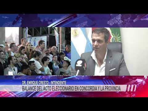 El intendente Cresto realizó un balance de las elecciones presidenciales en Concordia y la provincia