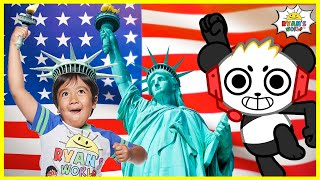 Learn about the Statue Of Liberty for Kids Famous Landmark Facts with Ryan's World!!!