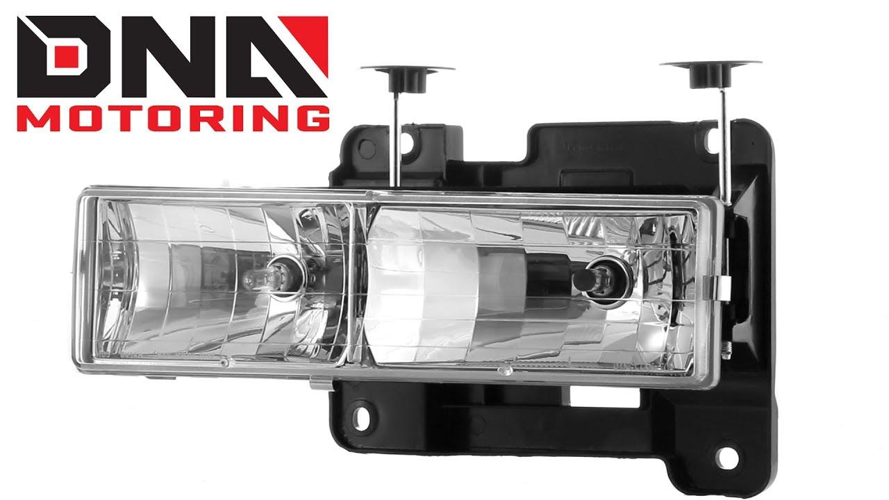 DNA Motoring 94-98 Chevrolet C10 Chrome Housing / Amber Corner Headlights
