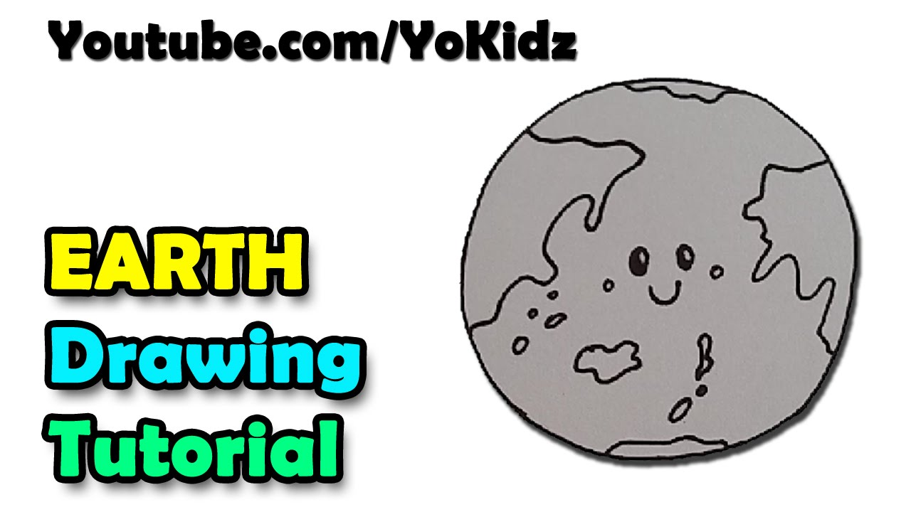 how to draw a cartoon earth for kids easy and simple youtube