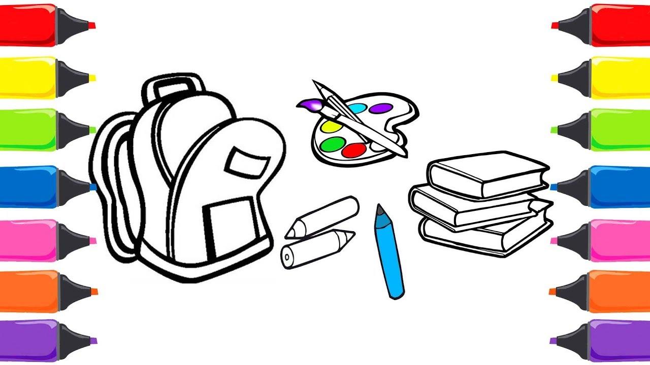 Okul çantamda Ne Var Okul Alışverişi Boyama Oyunu Boyama Sayfası