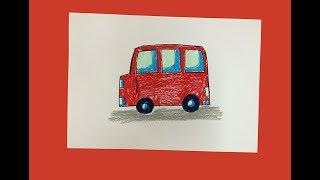 Hướng dẫn cách dạy bé học tập vẽ xe ô tô | Vẽ phương tiện giao thông