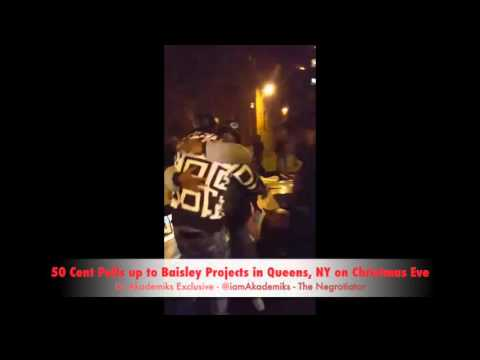 50 Cent Pulls up to Baisley Projects in Queens, NY on Christmas Eve driving a Drop Top Rolls Royce!