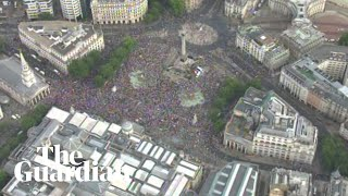 Aerial shots show scale of Trump protest in Trafalgar Square thumbnail