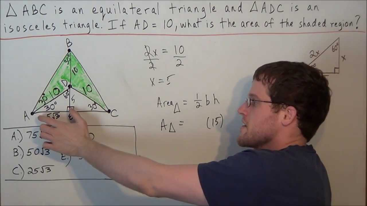 Area Of Shaded Region (equilateral Triangle Problem)  Sat Math