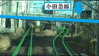 小田急線と立体交差する横浜線の古淵駅~町田駅間を走行するE233系の前面展望