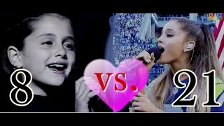 Ariana Grande singing National Anthem  8 years old vs now 2014