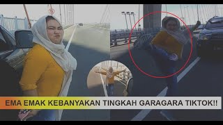 Viral !! Lagi Emak-Emak Goyang Tiktok Angkat Kaki di Jembatan Suramadu