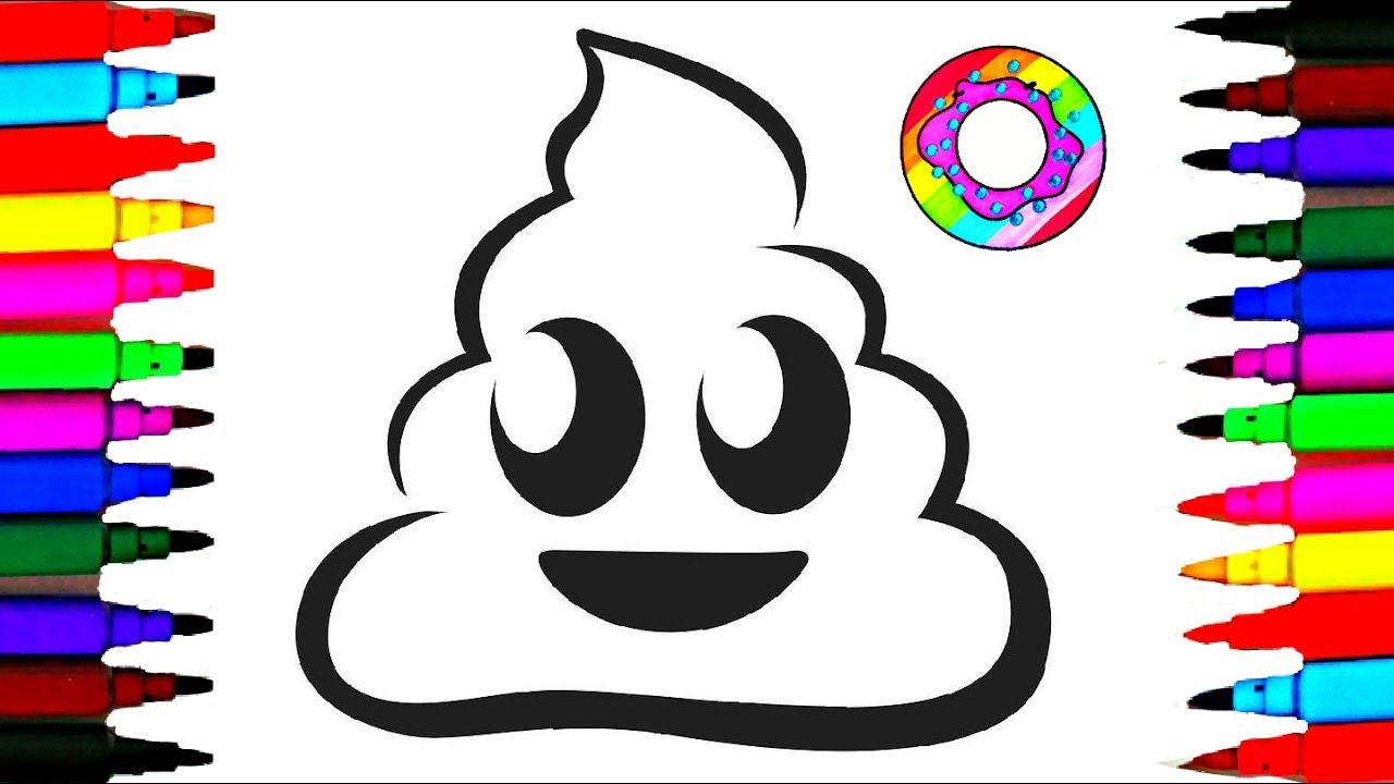 Learn Colors Coloring Poop Emoji Pages L Happy Faces Drawing Videos For Kids