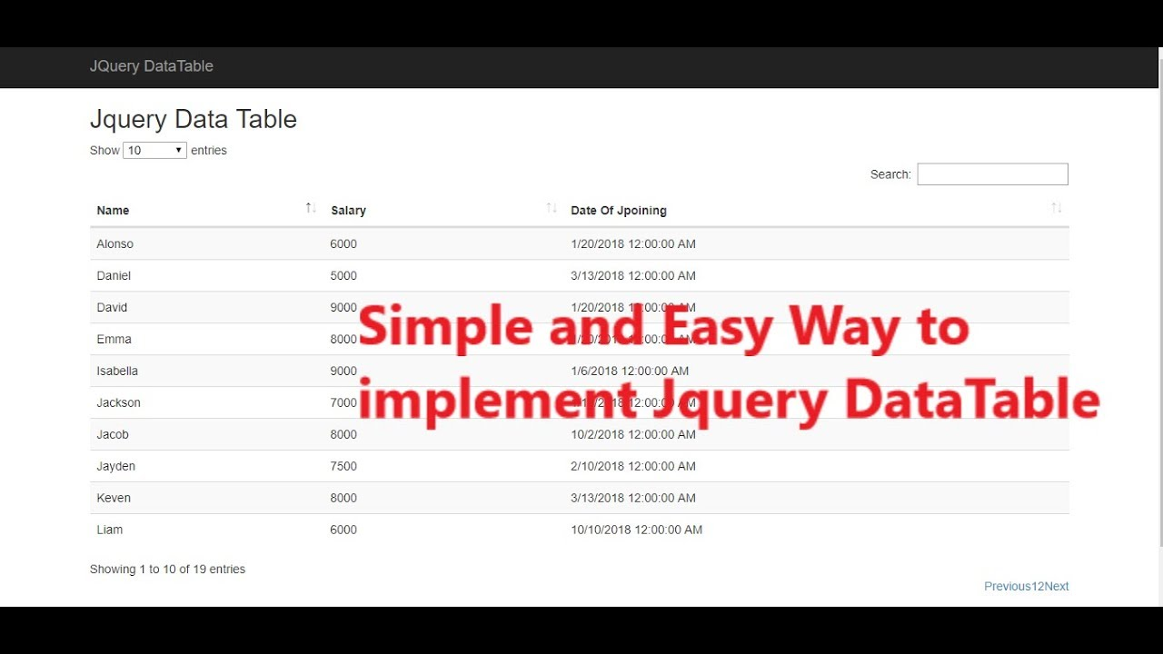 Learn how to use Jquery Datatable in ASP NET MVC| Jquery DataTable Example