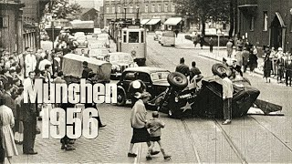 München 1956 - 2 Auto-Stunts + Unfall US-Jeep/PKW - 2 staged crashes & a real one with a US jeep