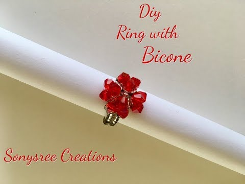 Diy Beaded Heart ❤️ Ring with Bicone  💍 _ Day 1 of 5 Day Marathon of Ring
