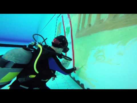 Largest Underwater Painting - Colette Haddad - Lebanon - Guinness World records - wmv