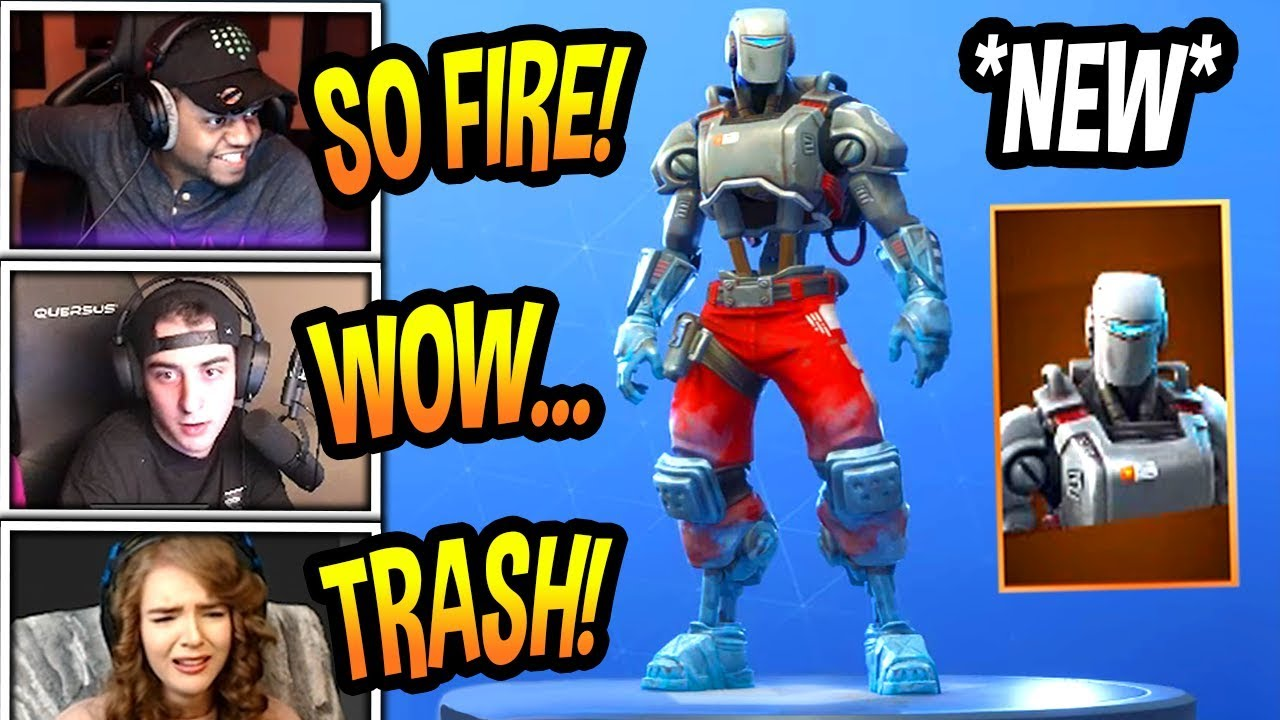 streamers-react-to-new-hunting-party-robot-skin-legendary-fortnite-epic-funny-moments