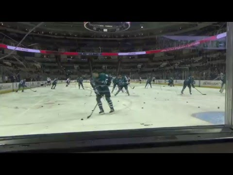 San Jose Sharks vs. Colorado Avalanche. Tommy Wingeles falls in pre-game warm ups.