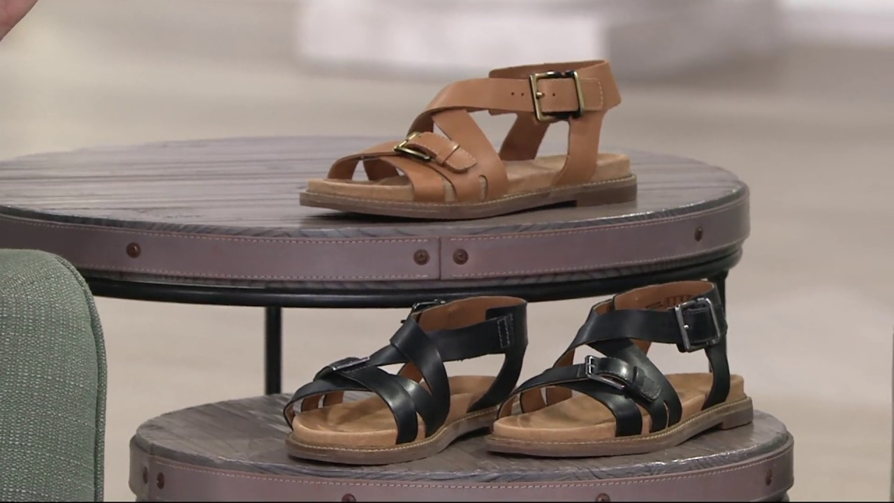 517f8470df2 Clarks Artisan Leather Criss Cross Sandals - Corsio Bambi on QVC ...