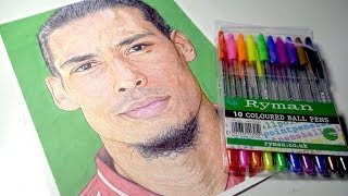 Drawing VIRGIL VAN DIJK with £2 PENS | Liverpool FC - DeMoose Art thumbnail