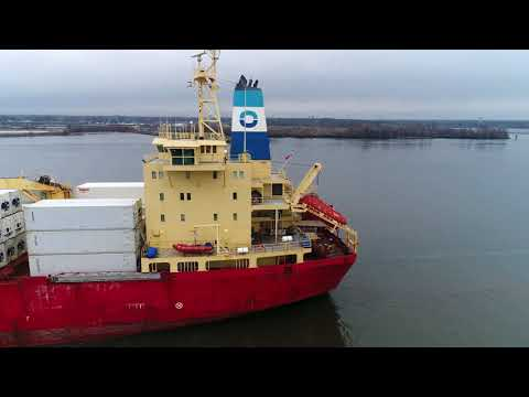 Aerial Drone Video of Cargo Ship Knud Reefer Delaware River Philadelphia