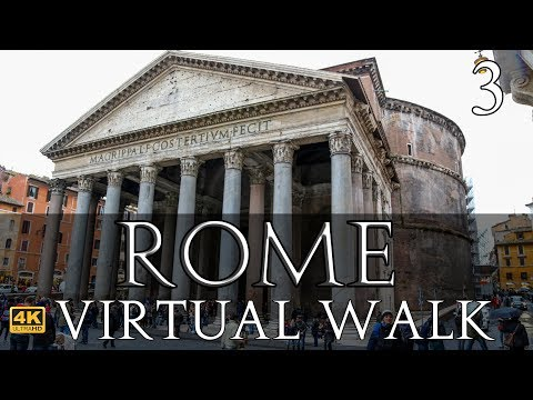 Rome Virtual Walk in 4k Part 3: Trevi Fountain to the Pantheon