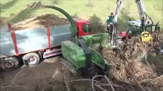 PTH 700/660 Pezzolato drum wood chipper powered by Massey Ferguson 160 Hp tractor, Icarbazzoli crane