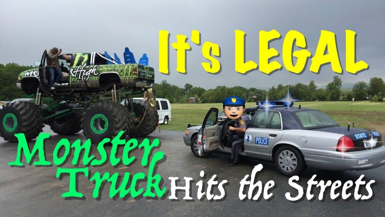 Monster Truck Joyride S On Public Road Cop Got Us Youtube