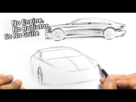 [007] car design sketch - electric vehicle _side and front view
