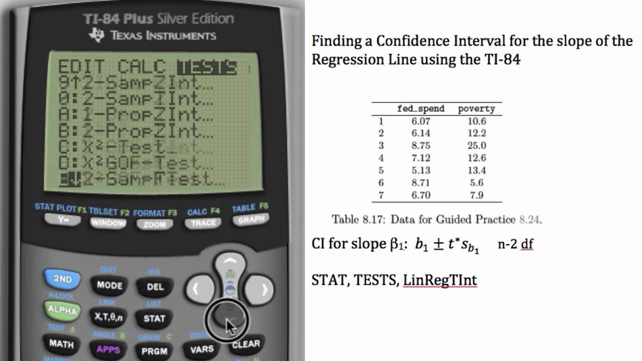 TI-84 - Regression Coefficient Confidence Interval - YouTube