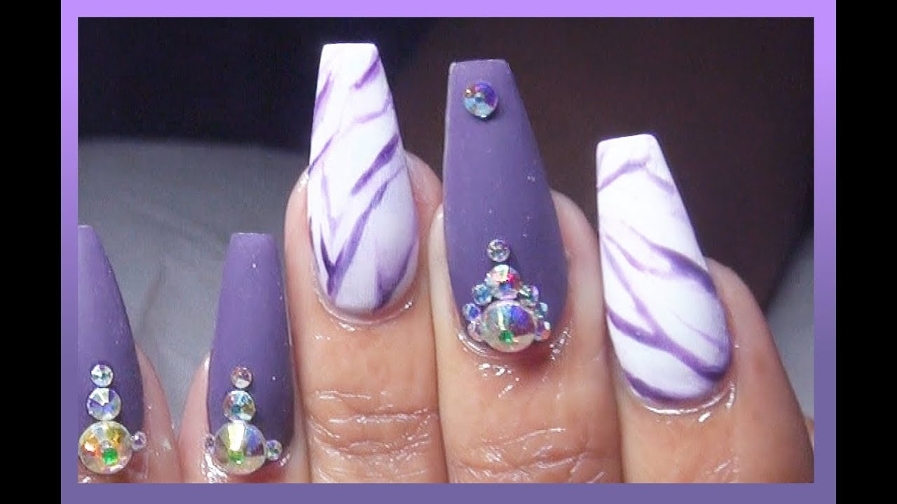 How To Matte Eggplant Marble Acrylic Nails Full Set Youtube