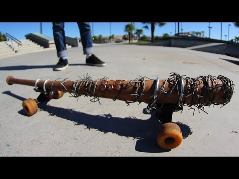 SUPER DANGEROUS WALKING DEAD SPIKED BAT SKATEBOARD!  YOU MAKE IT WE SKATE IT EP 155