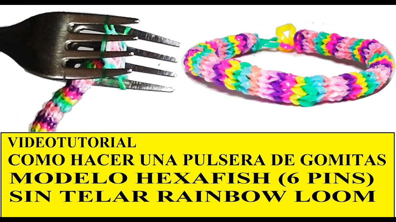 How to make a bracelet with gummy hexafish holders without loom or machine , YouTube