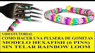 Repeat youtube video PULSERA DE GOMITAS HEXAFISH (6 PINS) ¡CON DOS TENEDORES! SIN TELAR TUTORIAL ESPAÑOL DIY