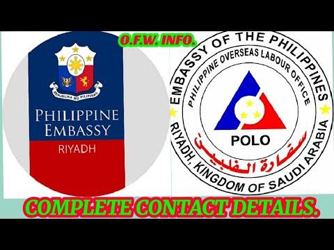 CONTACT DETAILS NG PHILIPPINE EMBASSY AND POLO OWWA IN RIYADH SAUDI ARABIA.