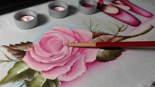 Como Colocar Sombra e Luz em Rosa – Pintura em Tecido
