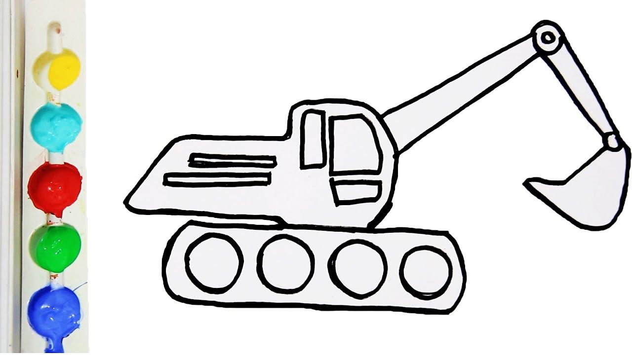 Cara Menggambar Dan Mewarnai Mobil Beko Glitter Excavator Coloring Page For Kids