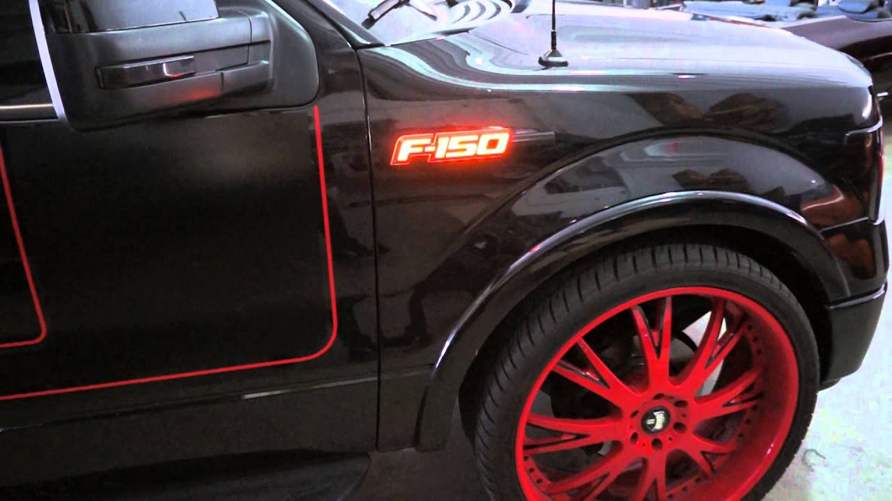 Black Ford F150 >> RECON Part # 264282AMBK 09-14 Ford F-150 Illuminated Emblems in AMBER LED - YouTube