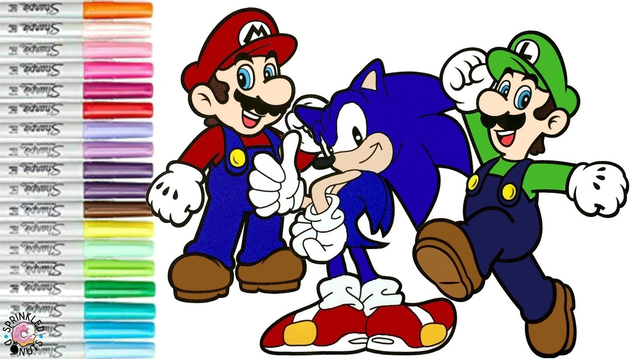 Super Mario Bros Coloring Book Page Mario Luigi Nintendo Sonic The Hedgehog Sega Youtube