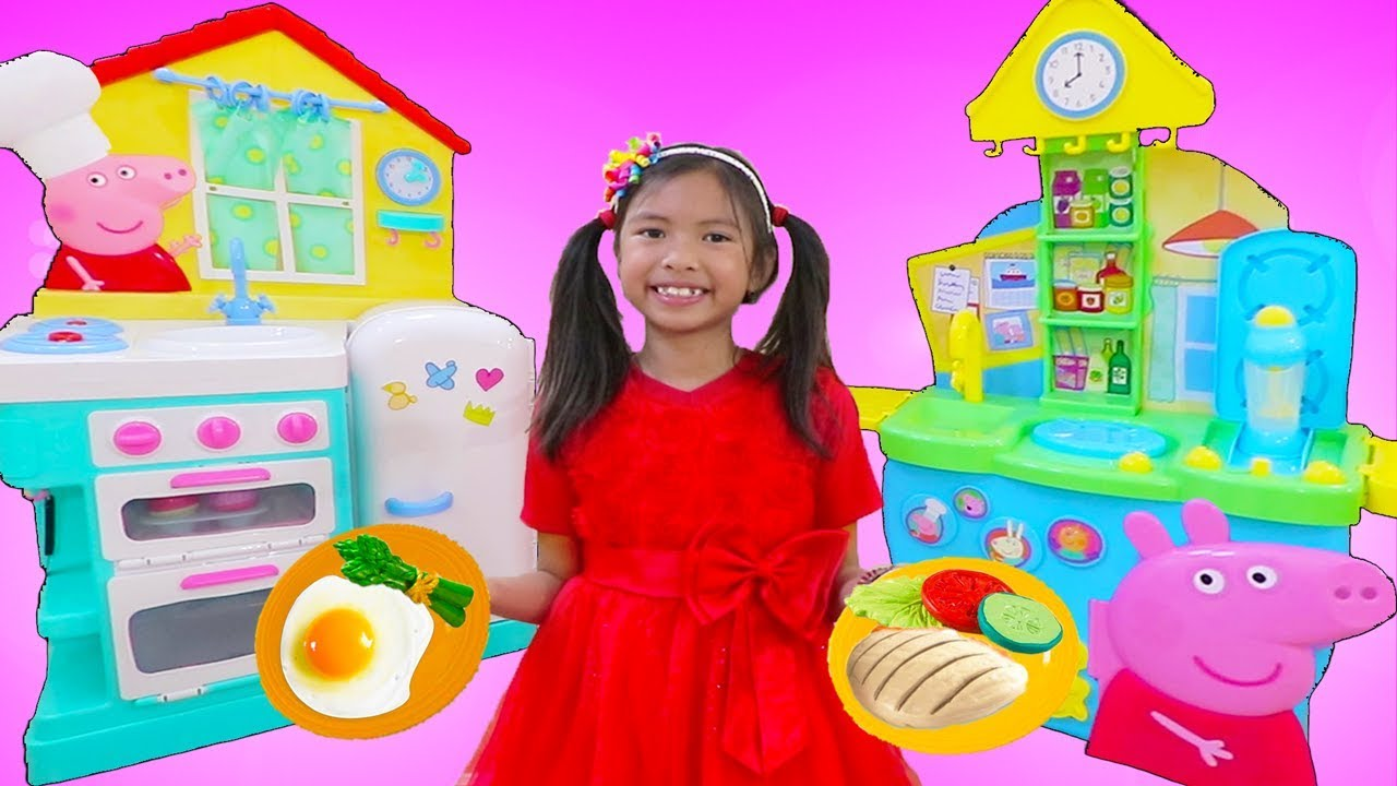 Wendy Pretend Play Cooking Food W Peppa Pig Restaurant Kitchen Oven Refrigerator Toys
