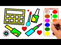 How to Draw Makeup Tool for Girls. Coloring Pages Cosmetics, Brushes, Lipstick. Art Colors for Kids.