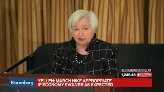 Yellen Says March Rate Hike May Be Appropriate