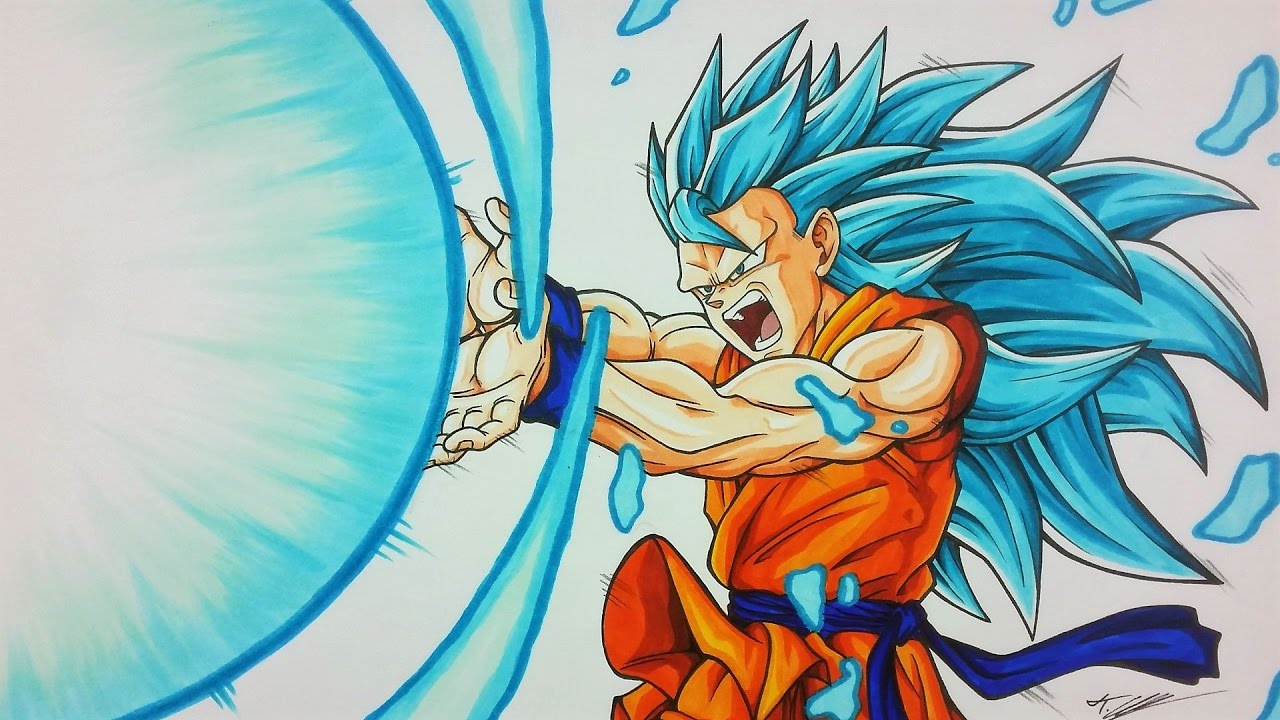 Drawing GOKU Super Saiyan BLUE 3 KAMEHAMEHA | TolgArt ...